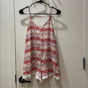 En Creme Floral Striped Romper with Lace Hem